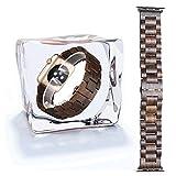 X-cool Holz und Metall Kühlen Leicht Gemütlich Sport Armband for Apple Watch(Sandelholz, 38mm)
