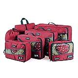 Tyhbelle Kleidertasche Packing Cubes Packwürfe 7-Teiliges Set Ultra-Leichte Gepäckverstauer Ideal für Reise, Seesäcke, Handgepäck und Rucksäcke (7-Teiliges Set,Rot)