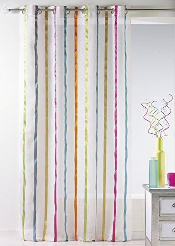 Casa casa hm6917299 sheer bande verticali con bunting fantasia multicolore poliestere 140 x 240 cm