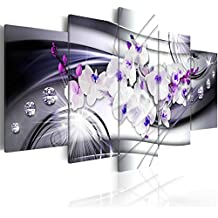 murando Impression sur toile 200x100 cm - Grand format - XXL - 3 couleurs au choix- 5 pieces - Image sur toile – Images – Photo – Tableau - motif moderne - Décoration - tendu sur chassis - Fleur Orchid Diamant b-A-0238-b-p 200x100 cm