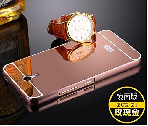 AEMA (TM) Luxury Metal Bumper + Acrylic Mirror Back Cover Case For Lenovo ZUK Z1 ROSE GOLD