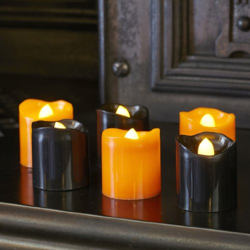 Set of 6 Black & Orange Halloween Battery LED Tea Light Candles by Lights4fun