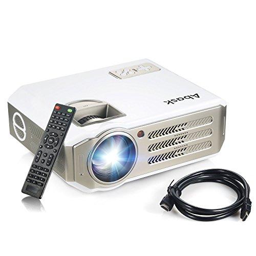 Beamer, Abask LCD Projektor Beamer 3100 lumens 1080P Full HD Heimkino Beamer LED Videoprojektor 1280x800 Unterstützt TV AV HDMI VGA USB für zu Hause Präsentation Unterwegs Kostenloses HDMI Kabel