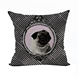 Nunubee Cotton Linen Animal Cushion Cover Home Pillowcase Soft Bed Square Pillowcover Polka Dot Dog