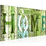 Bilder Home Haus Wandbild 100 x 40 cm Vlies - Leinwand Bild XXL Format Wandbilder Wohnzimmer Wohnung Deko Kunstdrucke Grün 1 Teilig -100% MADE IN GERMANY - Fertig zum Aufhängen 502812c