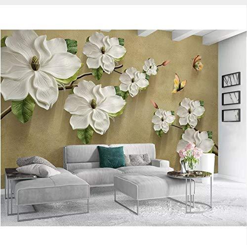 Rureng Benutzerdefinierte Tapete 3D Geprägte Floral Schmetterling Tv Hintergrund Wände Dekoration Wohnzimmer Schlafzimmer 3D Wallpaper-120X100Cm