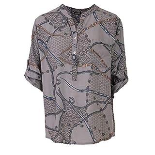 Love My Fashions Kailyn Viscose Belt Chain Print Top Grey