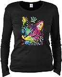 Damen Langarmshirt mit Motiv: Thinking Cat Crowned - Katzenmotiv - Geschenk - Pullover, Pulli - Farbe: schwarz