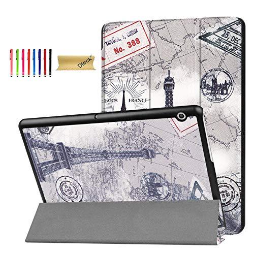 Huawei MediaPad T3 10.0 Hülle, Dteck Ultra Slim Leicht, Mehrwinkel-Ständer, Full Body Schutzhülle für Huawei MediaPad T3 10.0 Zoll AGS-L09 / AGS-W09 & Huawei Honor Play Pad 2 9.6 Zoll, 03 Tower (Slip Case 10-zoll-tablet)