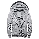 Abrigo de Chaqueta de suéter,JiaMeng Hombre Sudadera con Capucha Winter Warm Fleece Zipper de Invierno Geographical (Gris,XXL)