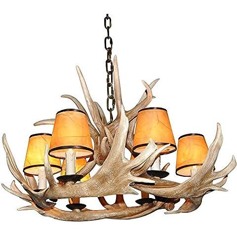 Shengdi corno di cervo 6-Light ferro industriale vintage lampadario a soffitto della lampada della lampada per Ristorante balcone Camera con paralume 1005C-6