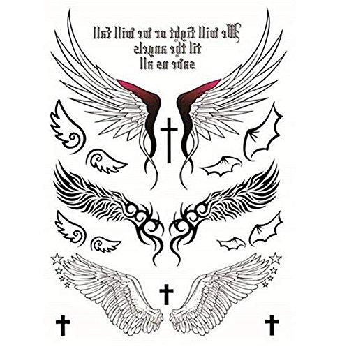 Beito Temporary Tattoos Aufkleber Engels-Entwurf Flügel Kreuz Sexy Produkte für Frauen Hippy-Tattoos Sticker 1 Pc - Engel Tattoos Frauen