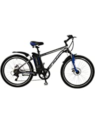 "Falcon Spark Mens' Electric Bike Grey/Blue, 18"" inch aluminium frame, 6 speed zoom front suspension forks front and rear mechanical disc brakes"