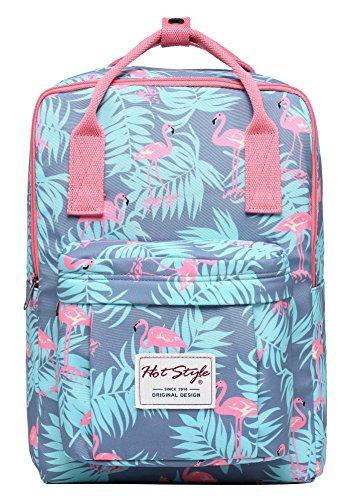 HotStyle Bestie Mode Mädchen Rucksack (37x27x14cm) - hält 13,3-Zoll-Laptop - Millennial Flamingos
