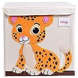 TsingLe Aufbewahrungsbox für Kinder, faltbar, Cartoon-Motiv, große Kapazität, Aufbewahrungsbehälter mit Deckel, für Kleidung, Schuhe, Spielzeug, 33 x 33 x 33 cm (36 l) Tiger