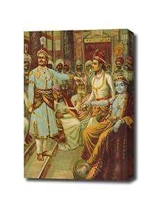 Krishna, envoyé Par Raja Ravi Varma Impression sur toile prête à suspendre 17 X 24 cm