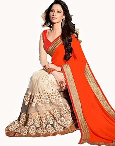 Sarees (Finix Fashion Women's Clothing Georgette Net Embroidered New Material's Sarees in Orange Color Saree Bollywood Style Designer Wear Low Price Sale Offer buy online in Georgette Net Embroidered Material New Free Size Beautiful Saree Best Offer For Women Party Wear Fashion Designer Sarees With Blouse Piece)  available at amazon for Rs.899