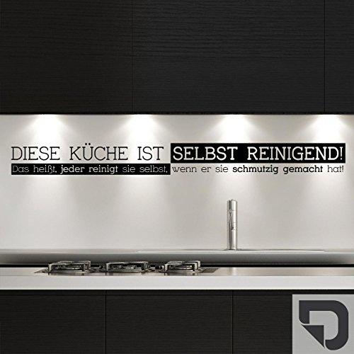 DESIGNSCAPE® Wandtattoo Diese Küche ist selbstreinigend. Das heißt, jeder reinigt sie selbst, wenn er sie schmutzig gemacht hat - Küchenspruch 60 x 6 cm (Breite x Höhe) dunkelgrau DW801246-S-F7