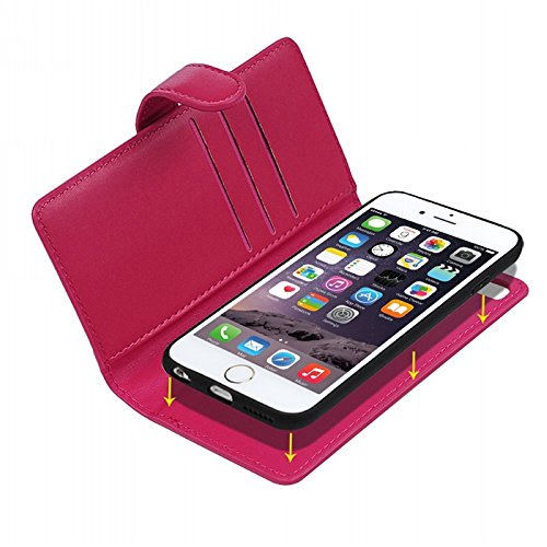 Für iPhone 6 Plus / iPhone 6S Plus Hülle, Yokata 2 in 1 Soft Weich PU Lederhülle Luxus Leder Zipper Cover Backcover Vintage Retro Flip Case Handyhülle Magnet Flip Tasche Design Kartenfach und Ständerf Rote