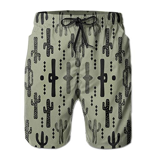 3D Print Cactus Dark Green Nursery Baby Boy Kids Outdoors S Shorts Fast Dry Beach Board Shorts Men's Swim Trunks (M) -