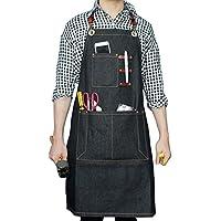 Delantal denim Boshiho para trabajos pesados, ajustable con correas de cuero cruzadas en la espalda, B