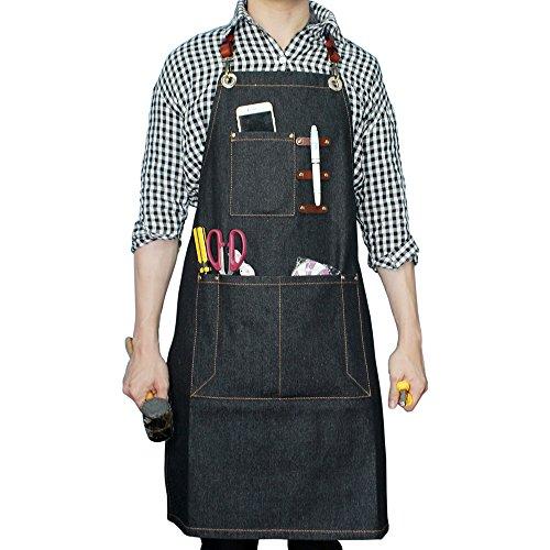 boshiho Denim Jean Arbeit Schürze, verstellbar Shop Schürze Chef Schürze mit Back Träger aus wvr25 (Denim Jeans Arbeit)