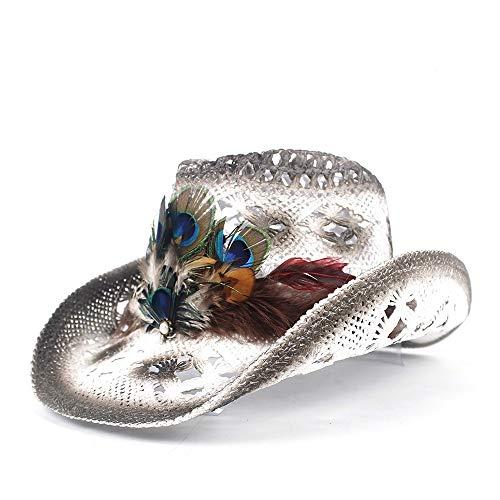 HÖHERE MÄNNER 2019 Mode Klassische Frauen Stroh hohl Western Cowboy Hut Dame handgemachte Pfauenfeder Sombrero Hombre Strand Cowgirl Jazz Sonnenhut größe 56-58 cm - White Jazz Kostüm