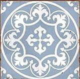 LPS Lot de 10 Autocollants Style 7 Bleu Victorien marocain rétro Traditionnel Style mosaïque Style mosaïque Transfert de Stickers Salle de Bain Cuisine bâton sur carrelage Mural