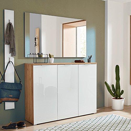 Komplett Garderobenset in Navarra-Eiche weiß, Schuhschrank mit weißer Glasfront, Spiegel und Garderobenpaneel mit Glasauflage