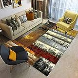 Liveinu Retro Druck Teppich mit Anti-Rutsch Unterstützung Wohnzimmer Teppich Abwaschbarer Kurzflor Teppich Fußmatten 160x230cm XK01-11