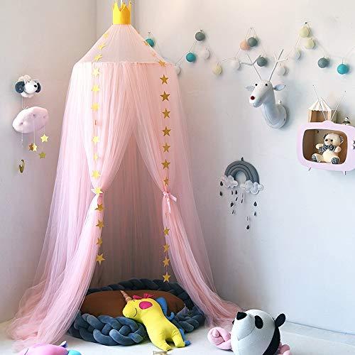 Nibesser Baldachin für Kinder/Babys 100% Polyester Gewebe Romantischer Betthimmel Moskitonetz Kinderbett für Kinderzimmer Hohe 240cm (Rosa) -