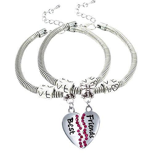 nuovo di zecca bf924 568a8 Set di 2 bracciali pendenti in lega color argento, con charm a forma di  cuore spezzato con strass rossi, ideale da regalare alla propria migliore  ...