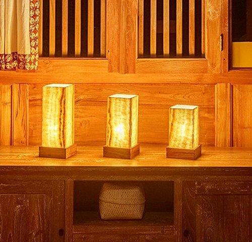 wohnfreuden Naturstein Onyx Nachttisch-Lampe quadratisch Natur gerade Gr. M
