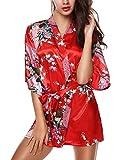 E-darter Paon Cardigan Robe de chambre - Satin Soyeux Peignoir Court Kimono Soie Femme (S, rouge)