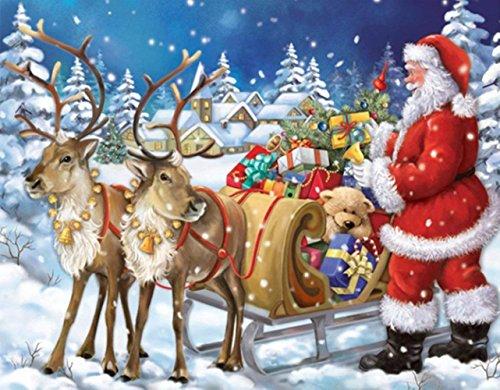 Sunnay DIY 5D Diamant Kit, Diamantbild Kreuzstich Wand Decor Snow Weihnachtsmann mit Rehkitz Eckig Diamond Malerei Gemälde Malen Nach Zahlen Strass-Stickere (Weihnachtsmann, 30 * 40cm)
