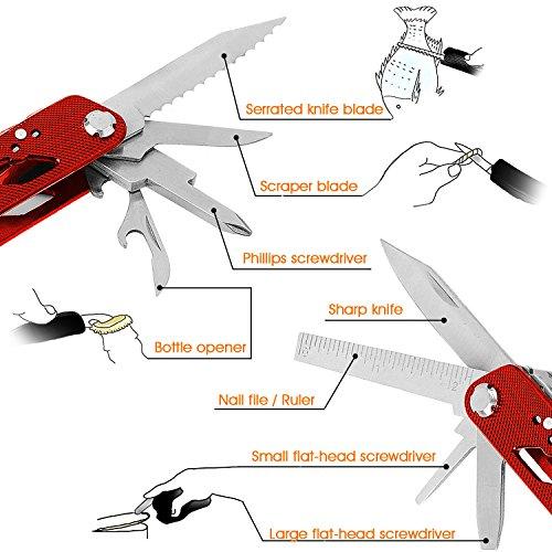 Aodoor 24 en 1 plegables alicates multi de la herramienta  Multiherramienta de Acero Inoxidable Navaja Suiza Alicate Destornillador Herramienta Multifuncional para Montañismo (Rojo)