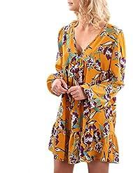 HARRYSTORE Las mujeres elegantes de impresión casual V vestido de cuello de manga larga vestido de fiesta mini vestido