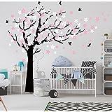 BDECOLL Adhesivo mural para habitación infantil, pegatinas, decoración para el cuarto del bebé, árbol de ciruelo - cherry butterfly (Black)