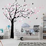 Bdecoll Kent arbre papillon DIY arbres Stickers muraux/ Papier peint amovible Stickers muraux /Chambre filles, chambre de bébé, Creative Art Deco (black)