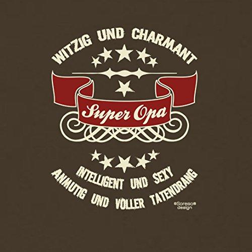 bequemes T-Shirt Herren Großvater Motiv Super Opa Geschenkidee, Geburtstagsgeschenk kurzarm Outfit, cooler Spruch Farbe: braun Braun