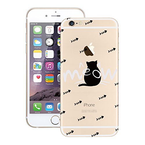 Yokata Coque iPhone 6S Plus, iPhone 6 Plus (5.5 inch) Transparente Motif Plume Housse Étui Doux Ultra Mince Etui iPhone 6S Plus / 6 Plus Silicone Souple TPU Gel Bumper en Clair Soft Case Flexible Back Chat Cute