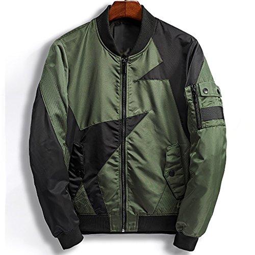 Casual Stehfuss Fünfzackigen Sternen Mischfarben Flug Anzug Jacke 2 Farben Zur Auswahl (Farbe : Grün, größe : L) (Flug Anzug)