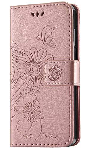 kazineer Hülle für Huawei Honor 8X, Handyhülle Leder Tasche Flip Case mit Standfunktion Schutzhülle kompatibel mit Huawei Honor 8X / Honor View 10 Lite (Pink-Gold)