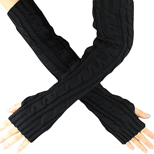 TEBAISE Handschuhe Damen für Frauen Armstulpen für Halber Finger Warme Handschuhe für Frauen Armwärmer für Handy