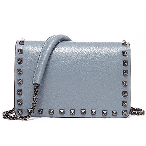 Mefly Il primo strato di pelle costellata di borsette in cuoio borsa a tracolla Borsa catena Crossbody Bag Black Sky blue