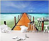 XLi-You 3D Tapete Fresko Benutzerdefinierte Wandbild 3D Fototapete Meer Blick Auf Das Meer Holzsteg Hintergrund Wall 3D Wandbilder Tapeten Für 3D-Wand Wandmalerei Hintergrundbild 400cmX300cm