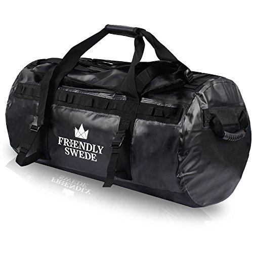 The Friendly Swede Wasserfeste Reisetasche Duffle Bag Rucksack 60L und 90 Liter - Seesack, Duffel Dry Bag mit Rucksackfunktion (Schwarz 90L)