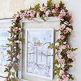 Housesweet Künstliche Rosenrebe Fake Blume Girlande für Haus Garten Hochzeit Party Emulationspflanze Deko, rose, 2.3m