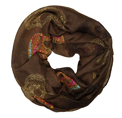 bufanda infinita sin fin manguera redonda bufanda de senora ligera calavera marron