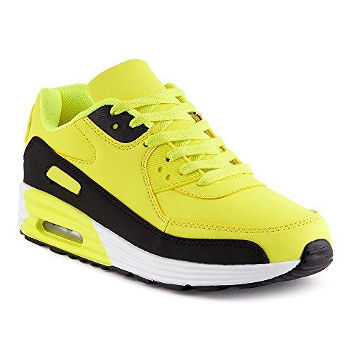 Fusskleidung Herren Damen Sportschuhe Dämpfung Neon Sneaker Laufschuhe Runners Gym Unisex Schwarz Gelb EU 42
